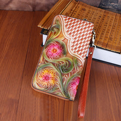Handmade Vintage Flowers Floral Brown Leather Wristlet Wallet Womens Zip Around Wallets Flowers Ladies Zipper Clutch Wallet for Women