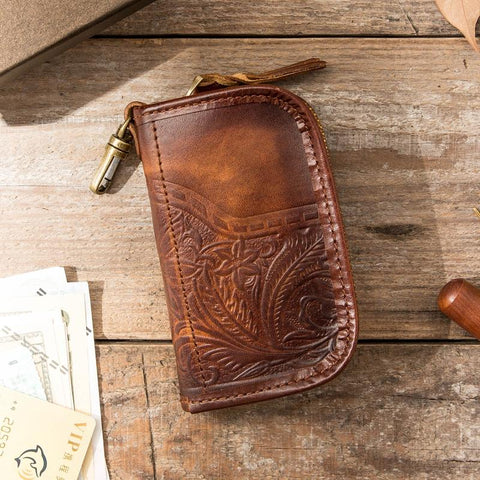 Black Handmade Leather Mens Small Car Key Wallet Dark Brown Key Holder Coin Purse Card Holder For Men