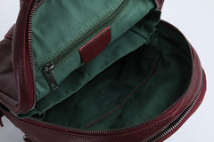 Genuine Leather Cute Women Backpack Bag Shoulder Bag Red Brown Leather Purse