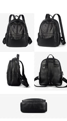 Fashion Womens Black Leather Backpack Purse Leather School Black Backpack Laptop Backpack Purse