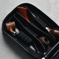 Cool Leather Black Mens Leather 4pcs CIGARETTE Tobacco Pipe Case Zipper Tobacco Pipe Case for Men