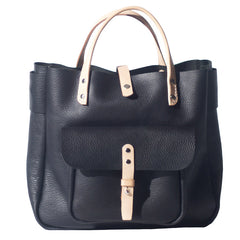 Handmade Leather Black Small Womens Tote Handbag Shopper Purse for Women