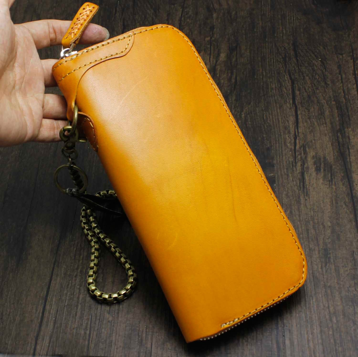 Cool Brown Leather Men's Biker Wallet Biker Chain Wallet Zipper Long Wallet with Chain For Men