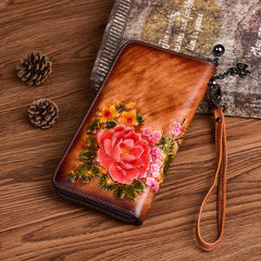 Vintage Flowers Gray Leather Wristlet Wallet Womens Zip Around Wallets Flowers Ladies Zipper Clutch Wallet for Women