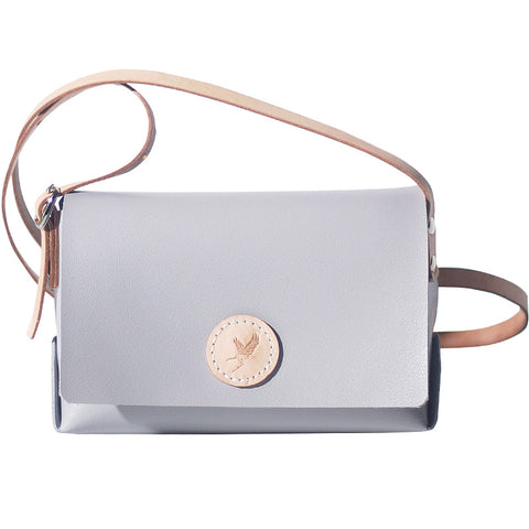 Handmade Leather White Gray Womens Small Cute Shoulder Purse Crossbody Bag for Women