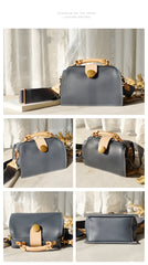 Vintage Womens Blue Leather Doctor Handbags Shoulder Purses Doctor Purse for Women