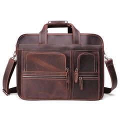 Vintage Brown Leather Men's 15'' Laptop Briefcase Handbags Black Professional Briefcase For Men