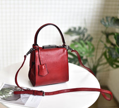 Womens Red Leather Doctor Handbag Purses Square Doctor Crossbody Purse for Women