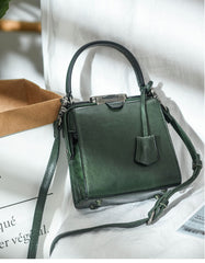 Womens Green Leather Doctor Handbag Purses Square Doctor Crossbody Purse for Women