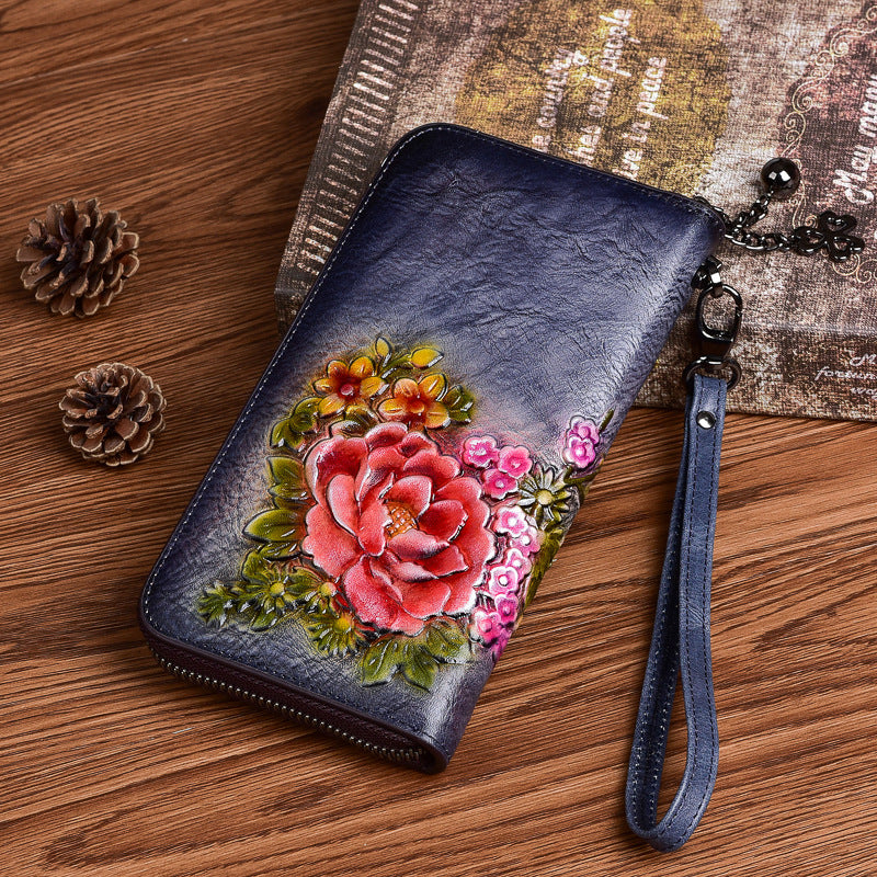 Vintage Flowers Red Leather Wristlet Wallet Womens Zip Around Wallets Flowers Ladies Zipper Clutch Wallet for Women