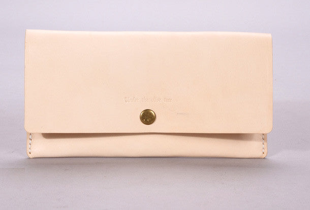 Handmade beige minimalist vintage leather phone clutch long wallet for women men