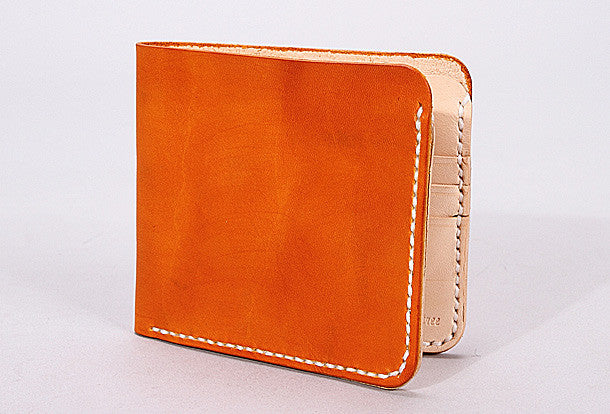 Handmade mens orange black minimalist slim leather short card wallet for men