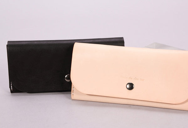 Handmade beige black minimalist leather phone clutch long wallet for women men