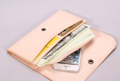 Handmade beige black minimalist leather phone clutch long wallet for women
