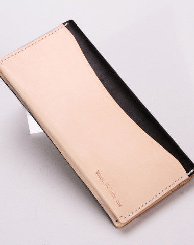 Handmade vintage beige minimalist leather phone clutch long wallet for women men