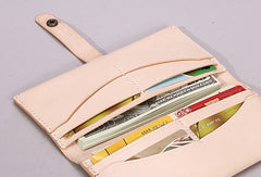 Handmade beige modern minimalist leather phone clutch long wallet for women men