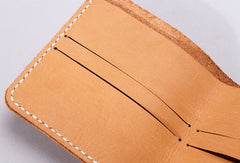 Handmade leather wallet yellow minimalist slim leather billfold card wallet for men