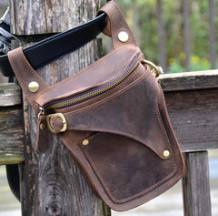 Cool Brown Leather Men's Belt Bag Waist Bag Motorcycle Bag Belt Pouch For Men