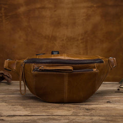 Vintage Brown Leather Men's Fanny Packs Hip Pack Waist Bag For Men