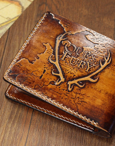 GENUINE HANDMADE GAME-OF-THRONES CARVED LEATHER CUSTOM SHORT WALLET FOR MEN GAMERS