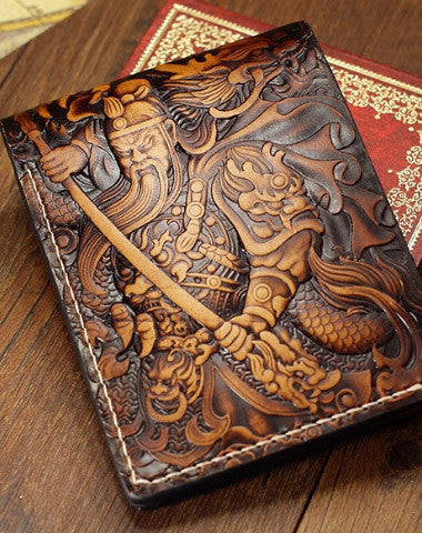 Handmade the-Three-Kingdoms_Guan-Yu carved leather custom short wallet for men gamers