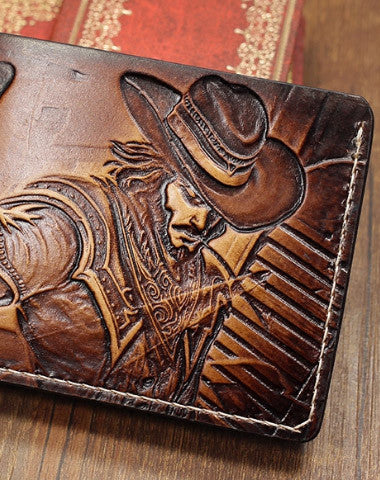 Handmade League of Legends LOL Twisted Fate carved leather custom short wallet for men gamers