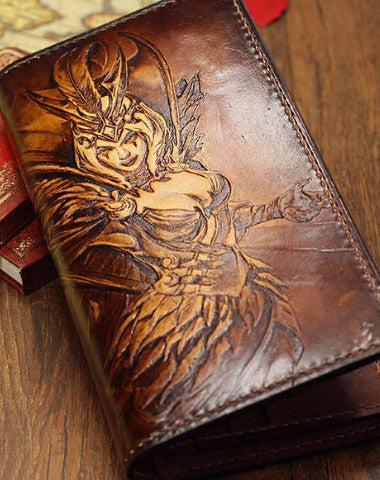 HANDMADE LEAGUE OF LEGENDS LOL LEBLANC-THE-DECEIVER CARVED LEATHER CUSTOM LONG WALLET FOR MEN GAMERS