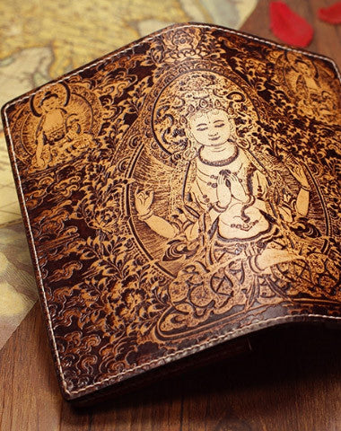 Handmade leather wallet Four-hands-Guanyin carved leather custom long wallet for men