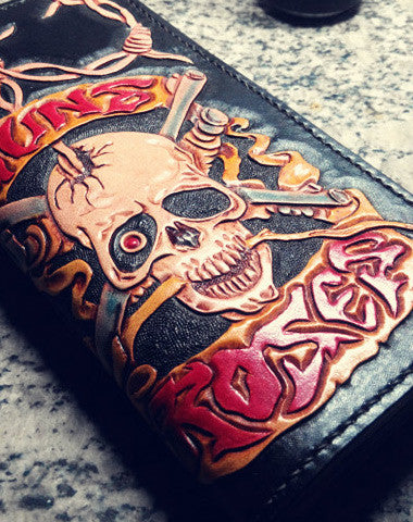 HANDMADE LONG LEATHER WALLET MEN GUNS & ROSES SKULL BLACK TOOLED CARVED LONG WALLET FOR HIM