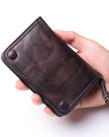 Leather biker short trucker wallet leather chain men Black biker long wallet