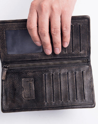 Handmade long wallet leather men phone clutch vintage wallet for men