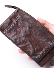 Leather biker Long trucker wallet leather chain men Coffee biker long wallet
