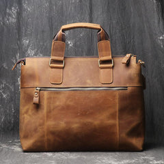 Leather Mens Briefcase 13inch Laptop Handbag Work Bag Business Bag Shoulder Bag For Men