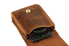 Vintage Brown Leather Men's Belt Pouch Cell Phone Waist Holster Belt Bag For Men