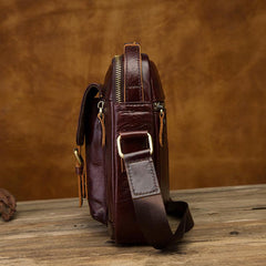 Vintage Black Leather Men's Small Vertical Side Bag Brown Shoulder Bag Handbag For Men