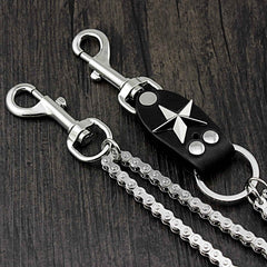 Star SILVER STAINLESS STEEL MENS Double CHAIN PANTS CHAIN WALLET CHAIN BIKER WALLET CHAIN FOR MEN