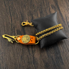 Gold Mens Wallet Chain Dragon Hook Brass Biker Wallet Chain Pants Chain For Men