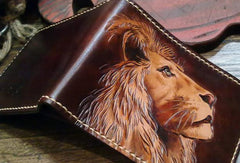 Handmade billfold leather wallet men lion carved leather billfold wallet for men him