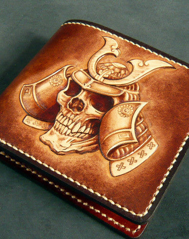 Handmade leather wallet men Japanese general Skull carved leather short wallet for him