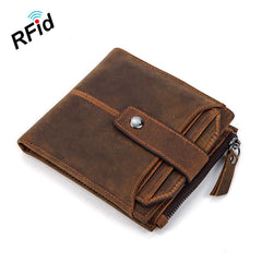 RFID Brown Leather Men's Small Wallet billfold Wallet Cool Bifold Wallet For Men