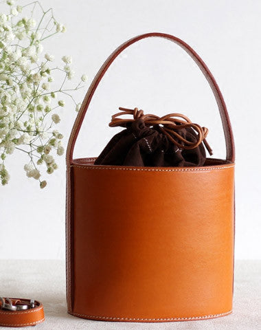 HANDMADE LEATHER BUCKET BAG SHOPPER BAG FOR WOMEN LEATHER HANDBAG SHOULDER BAG