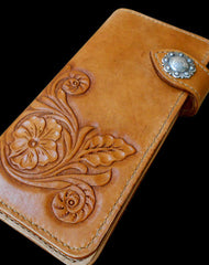 Handcraft vintage handmade carved floral leather long wallet for women ladys