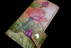 Handcraft vintage hand painting lotus flower leather ID card wallet for women