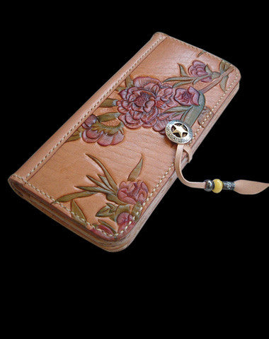 Handcraft vintage hand painting peach blossom leather long wallet for women