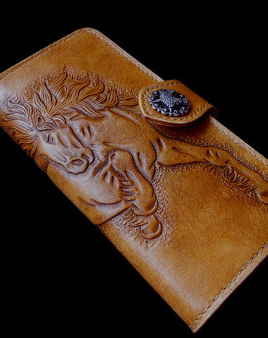 Handmade biker wallet leather bifold vintage galloping horse leather long wallet for men