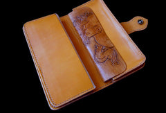Handcraft vintage hand painting galloping horse leather long wallet for men(trifold)