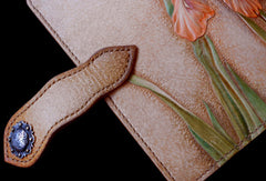 Handcraft vintage hand painting Irises flower leather long wallet for women