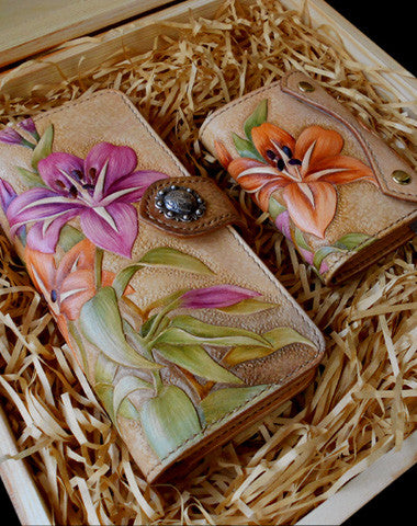 Handcraft vintage hand painting lily leather long/keys wallet for women
