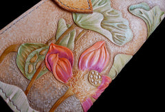 Handcraft vintage hand painting lotus flower leather long wallet for women