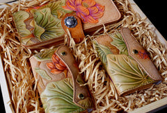 Handmade Womens Wallet tooled lotus flower leather long wallet for women